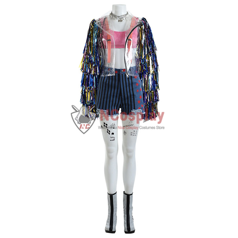 Harley Quinn Birds of Prey Rainbow Cosplay Costume Full Set
