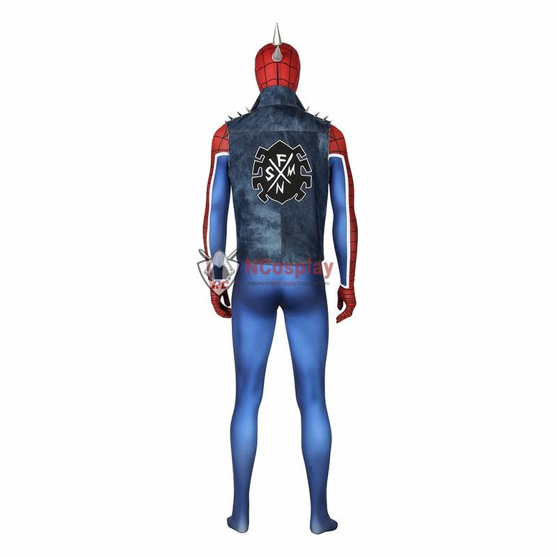 Marvel Spider Man Peter Parker Spider Punk Rock Cosplay Costume
