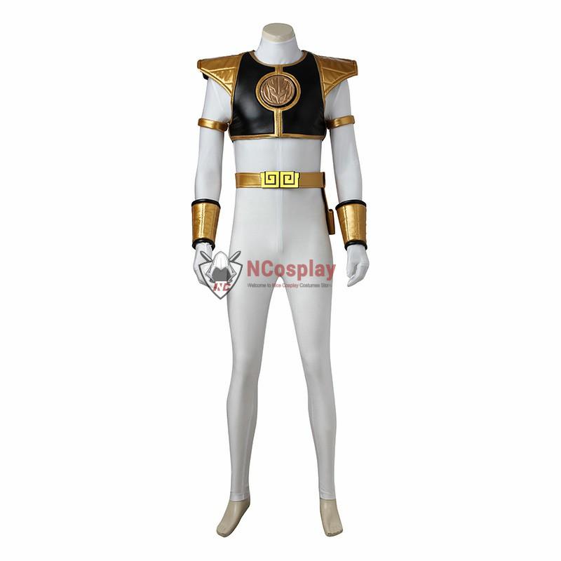 Mighty Morphin Power Rangers Tommy Oliver White Power Ranger Cosplay Costume Full Set