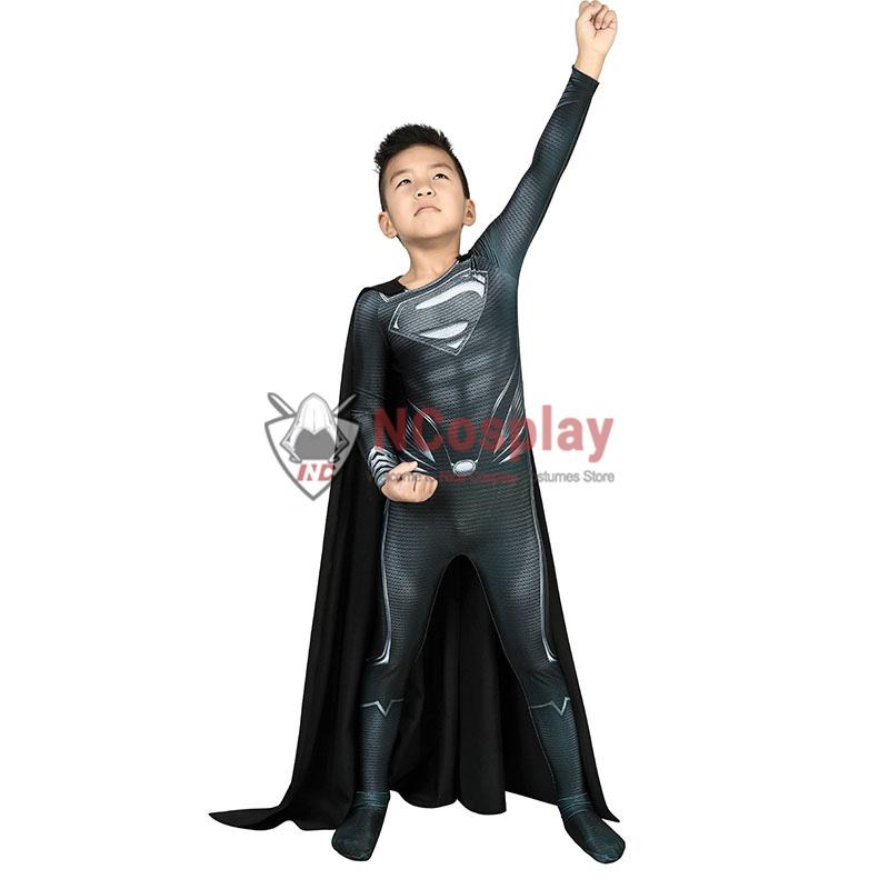 Justice League Clark Kent Superman Cosplay Costume Superman Black Jumpsuit For Kids